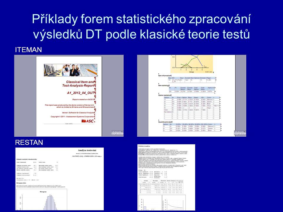 Příklady forem statistického zpracování výsledků DT podle klasické teorie testů ITEMAN RESTAN