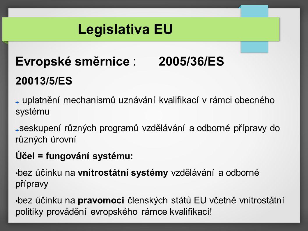 Evropské směrnice : 2005/36/ES 20013/5/ES uplatnění mechanismů uznávání kvalifikací v rámci obecného systému seskupení různých programů vzdělávání a odborné přípravy do různých úrovní Účel = fungování systému: bez účinku na vnitrostátní systémy vzdělávání a odborné přípravy bez účinku na pravomoci členských států EU včetně vnitrostátní politiky provádění evropského rámce kvalifikací.