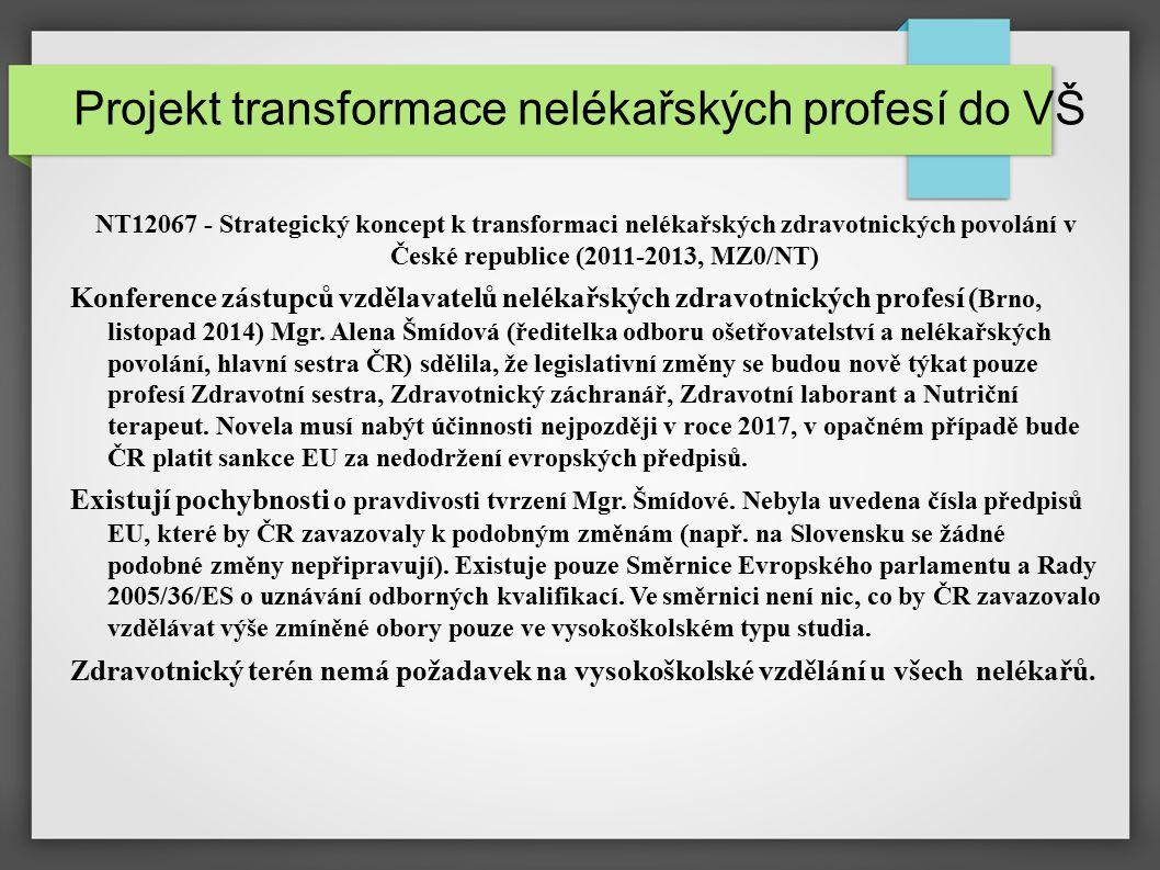 Projekt transformace nelékařských profesí do VŠ NT12067 - Strategický koncept k transformaci nelékařských zdravotnických povolání v České republice (2011-2013, MZ0/NT) Konference zástupců vzdělavatelů nelékařských zdravotnických profesí ( Brno, listopad 2014) Mgr.
