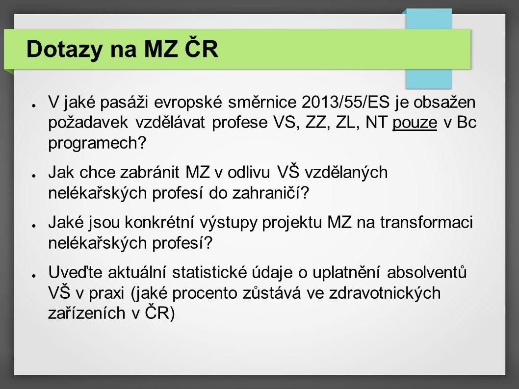 Dotazy na MZ ČR ● V jaké pasáži evropské směrnice 2013/55/ES je obsažen požadavek vzdělávat profese VS, ZZ, ZL, NT pouze v Bc programech? ● Jak chce z