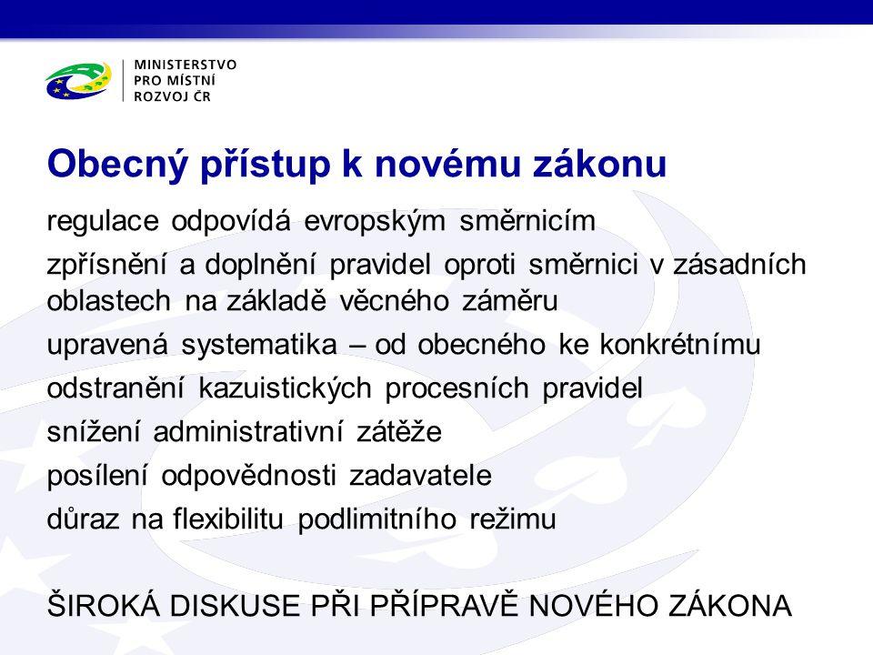vymezení hlavního předmětu regulace: pravidla pro zadávací řízení nechceme regulovat celý investiční proces Zákon o zadávání veřejných zakázek