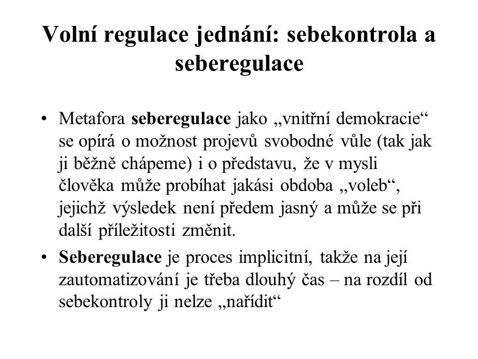 """Volní regulace jednání: sebekontrola a seberegulace Sebekontrolu lze analogicky přirovnat k """"vnitřní diktatuře ."""