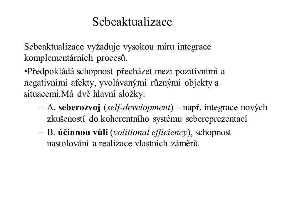 Sebeaktualizace Integrace nových zkušeností předpokládá schopnost zaznamenat změny, učit se a poučit se, současně si ale uchovat přístup k self jako koherentnímu systému sebereprezentací.