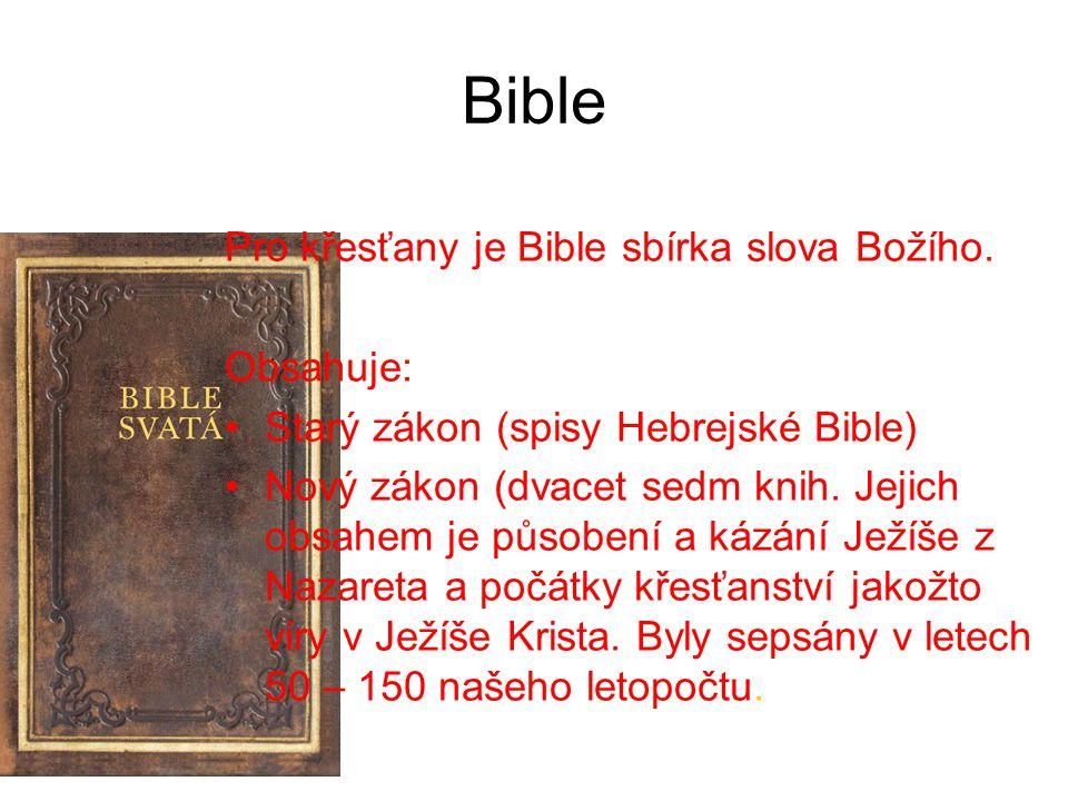 Bible Pro křesťany je Bible sbírka slova Božího. Obsahuje: Starý zákon (spisy Hebrejské Bible) Nový zákon (dvacet sedm knih. Jejich obsahem je působen