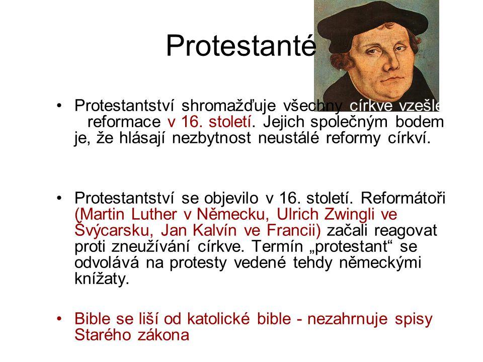 Protestanté Protestantství shromažďuje všechny církve vzešlé z reformace v 16. století. Jejich společným bodem je, že hlásají nezbytnost neustálé refo