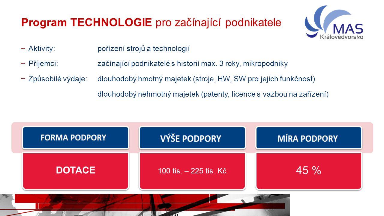 Program TECHNOLOGIE pro začínající podnikatele Aktivity:pořízení strojů a technologií Příjemci:začínající podnikatelé s historií max. 3 roky, mikropod
