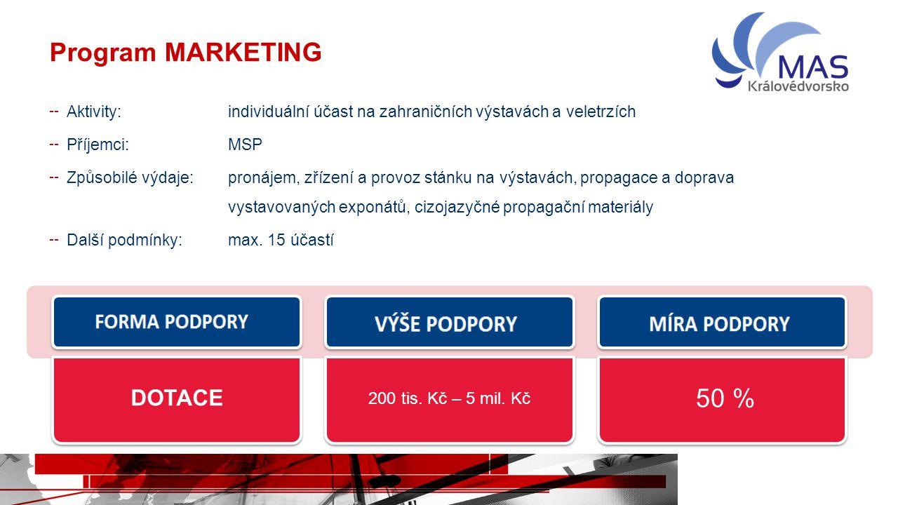Program MARKETING Aktivity:individuální účast na zahraničních výstavách a veletrzích Příjemci:MSP Způsobilé výdaje:pronájem, zřízení a provoz stánku n