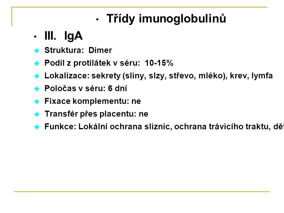 Třídy imunoglobulinů III. IgA  Struktura: Dimer  Podíl z protilátek v séru: 10-15%  Lokalizace: sekrety (sliny, slzy, střevo, mléko), krev, lymfa 