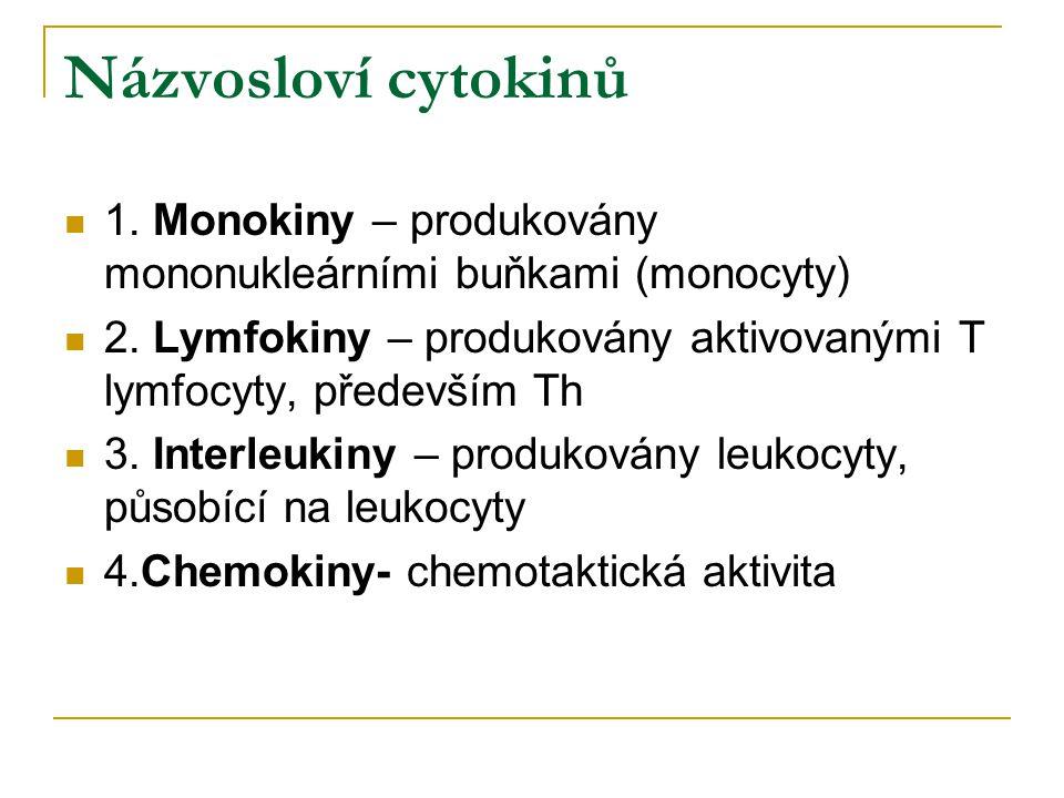 Názvosloví cytokinů 1. Monokiny – produkovány mononukleárními buňkami (monocyty) 2. Lymfokiny – produkovány aktivovanými T lymfocyty, především Th 3.