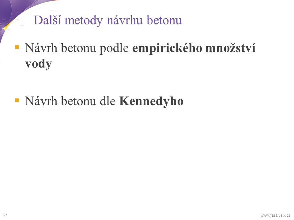 Další metody návrhu betonu  Návrh betonu podle empirického množství vody  Návrh betonu dle Kennedyho 21 www.fast.vsb.cz