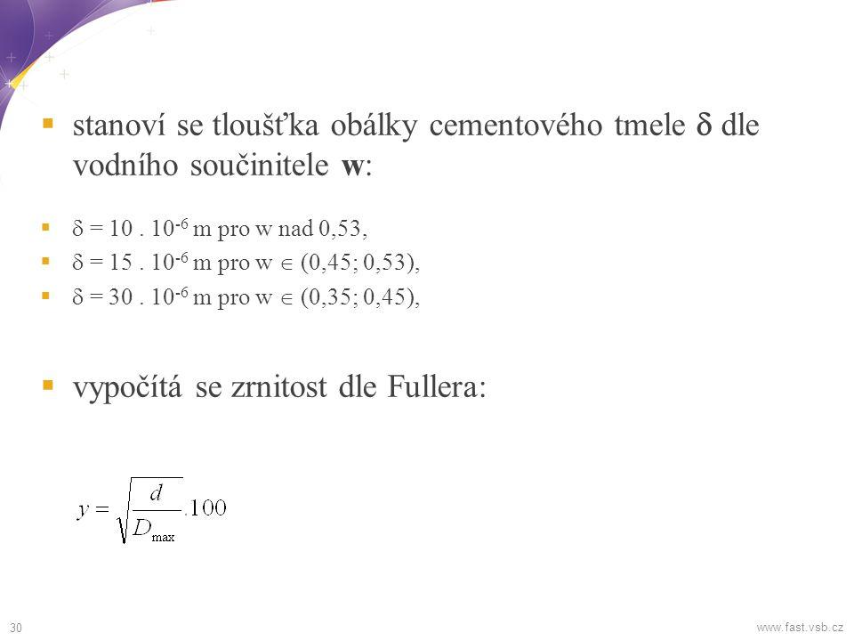  stanoví se tloušťka obálky cementového tmele  dle vodního součinitele w:   = 10.