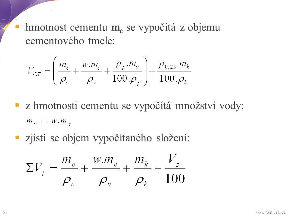  hmotnost cementu m c se vypočítá z objemu cementového tmele:  z hmotnosti cementu se vypočítá množství vody:  zjistí se objem vypočítaného složení: 32 www.fast.vsb.cz