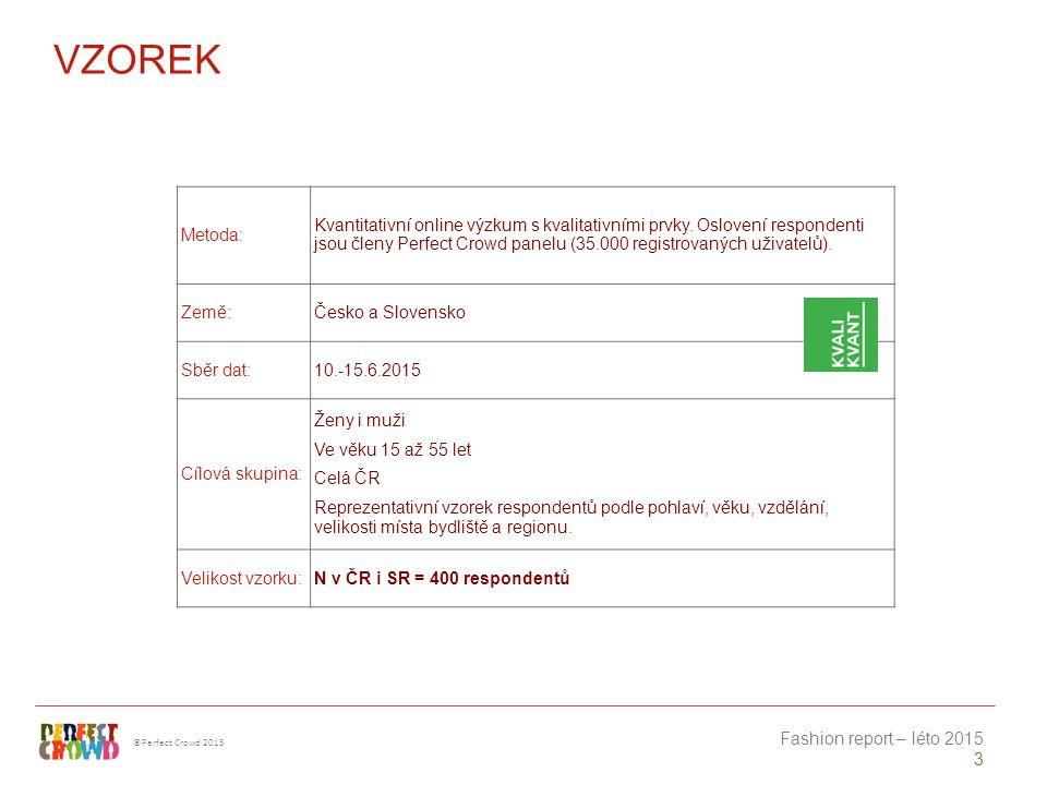 ©Perfect Crowd 2013 Fashion report – léto 2015 3 VZOREK Metoda: Kvantitativní online výzkum s kvalitativními prvky.