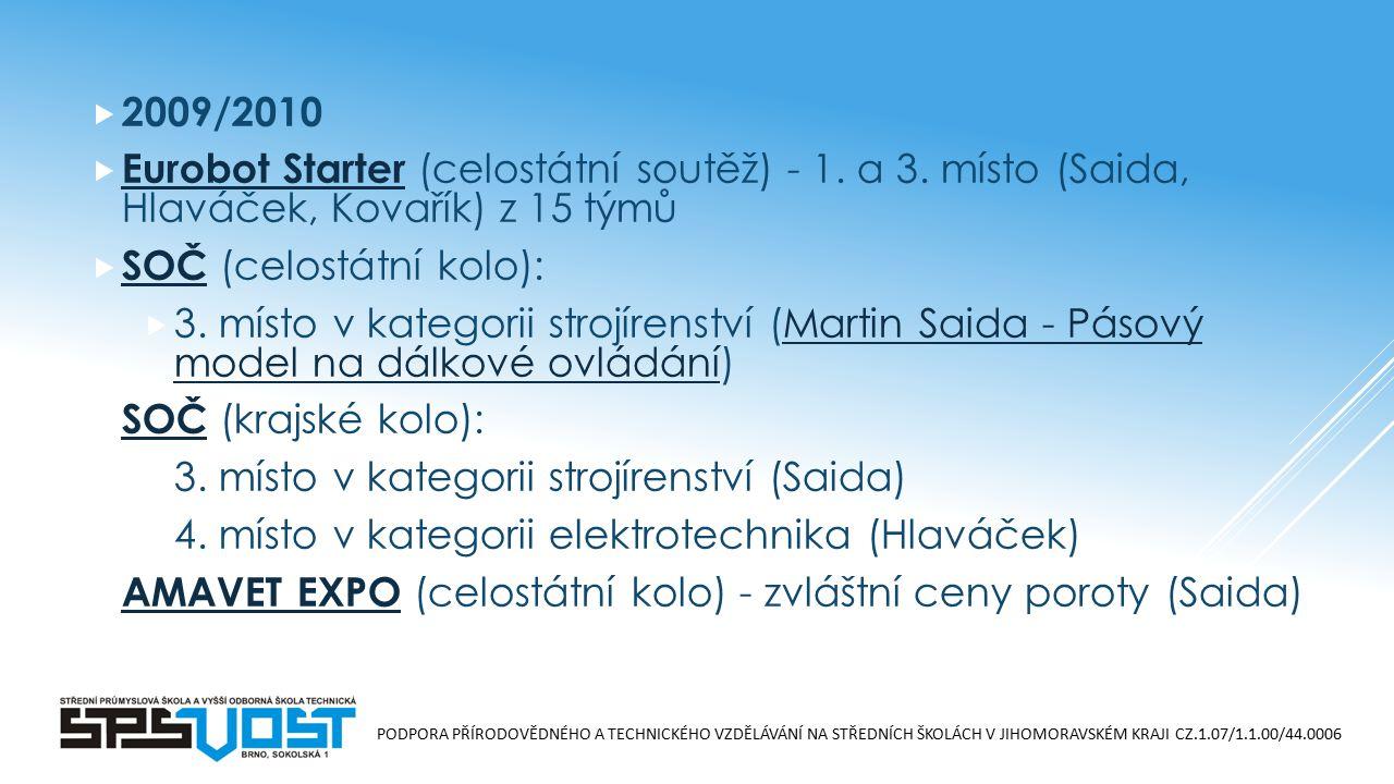 PODPORA PŘÍRODOVĚDNÉHO A TECHNICKÉHO VZDĚLÁVÁNÍ NA STŘEDNÍCH ŠKOLÁCH V JIHOMORAVSKÉM KRAJI CZ.1.07/1.1.00/44.0006  2009/2010  Eurobot Starter (celostátní soutěž) - 1.