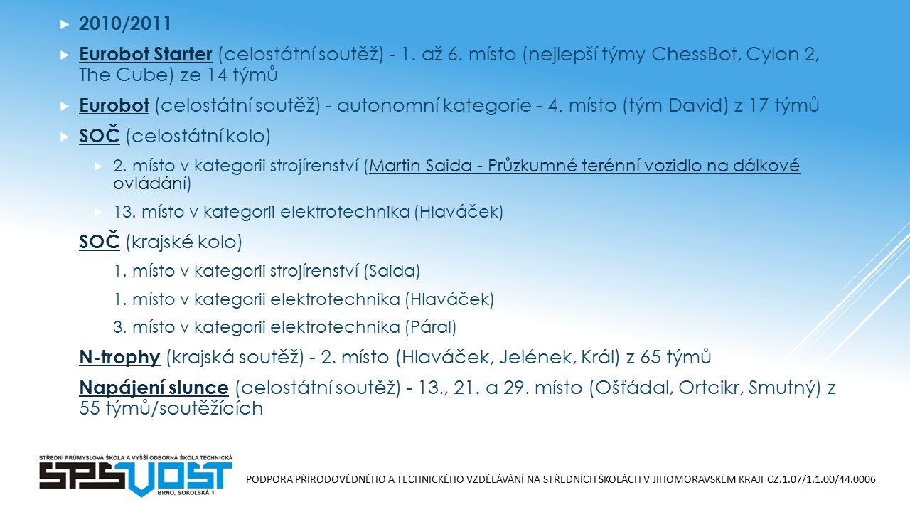 PODPORA PŘÍRODOVĚDNÉHO A TECHNICKÉHO VZDĚLÁVÁNÍ NA STŘEDNÍCH ŠKOLÁCH V JIHOMORAVSKÉM KRAJI CZ.1.07/1.1.00/44.0006  2010/2011  Eurobot Starter (celostátní soutěž) - 1.