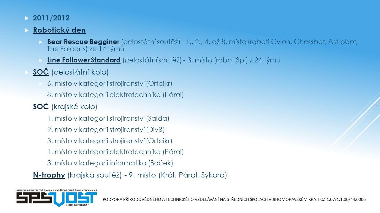 PODPORA PŘÍRODOVĚDNÉHO A TECHNICKÉHO VZDĚLÁVÁNÍ NA STŘEDNÍCH ŠKOLÁCH V JIHOMORAVSKÉM KRAJI CZ.1.07/1.1.00/44.0006  2011/2012  Robotický den Robotický den  Bear Rescue Begginer (celostátní soutěž) - 1., 2., 4.