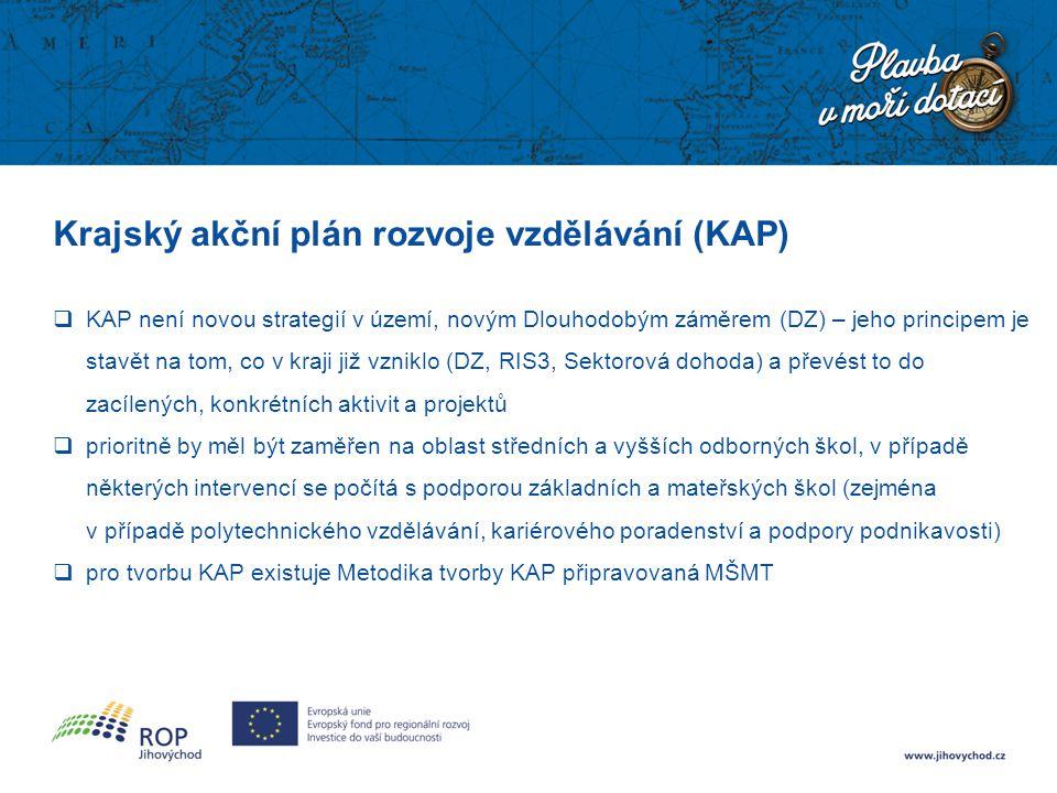 Krajský akční plán rozvoje vzdělávání (KAP)  KAP není novou strategií v území, novým Dlouhodobým záměrem (DZ) – jeho principem je stavět na tom, co v