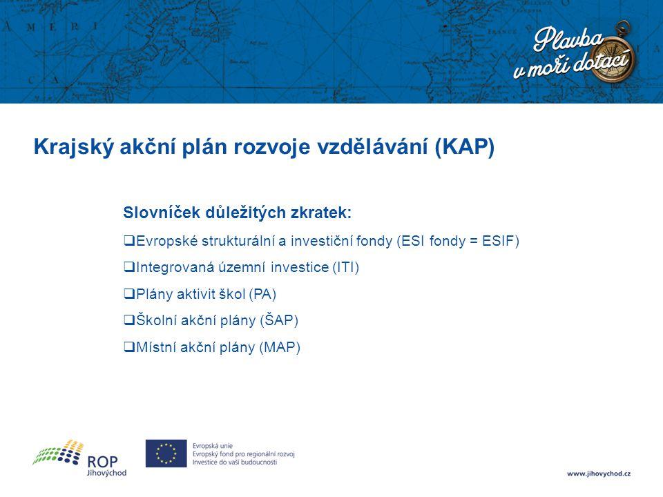 Krajský akční plán rozvoje vzdělávání (KAP) Slovníček důležitých zkratek:  Evropské strukturální a investiční fondy (ESI fondy = ESIF)  Integrovaná