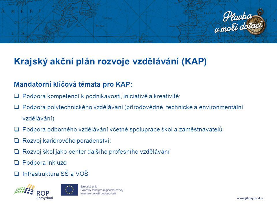 Krajský akční plán rozvoje vzdělávání (KAP) Mandatorní klíčová témata pro KAP:  Podpora kompetencí k podnikavosti, iniciativě a kreativitě;  Podpora