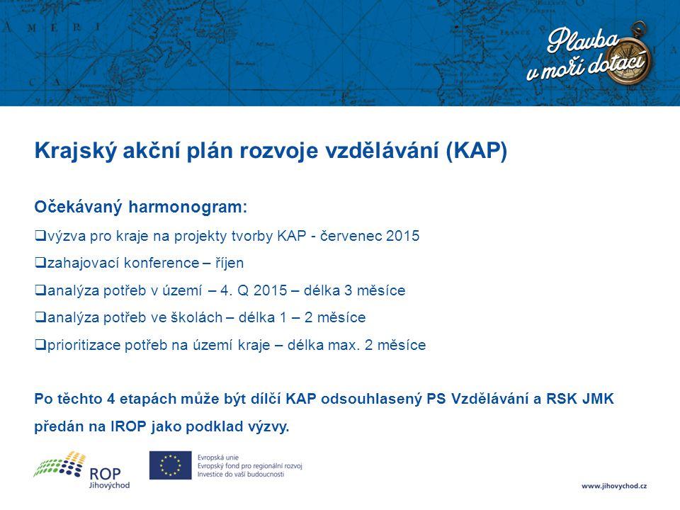 Krajský akční plán rozvoje vzdělávání (KAP) Očekávaný harmonogram:  výzva pro kraje na projekty tvorby KAP - červenec 2015  zahajovací konference –