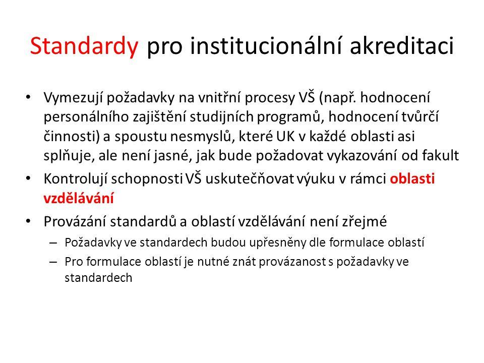 Standardy pro institucionální akreditaci Vymezují požadavky na vnitřní procesy VŠ (např. hodnocení personálního zajištění studijních programů, hodnoce