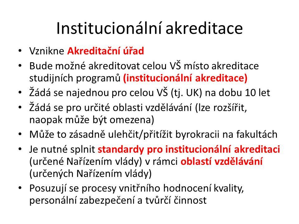 Institucionální akreditace Vznikne Akreditační úřad Bude možné akreditovat celou VŠ místo akreditace studijních programů (institucionální akreditace)