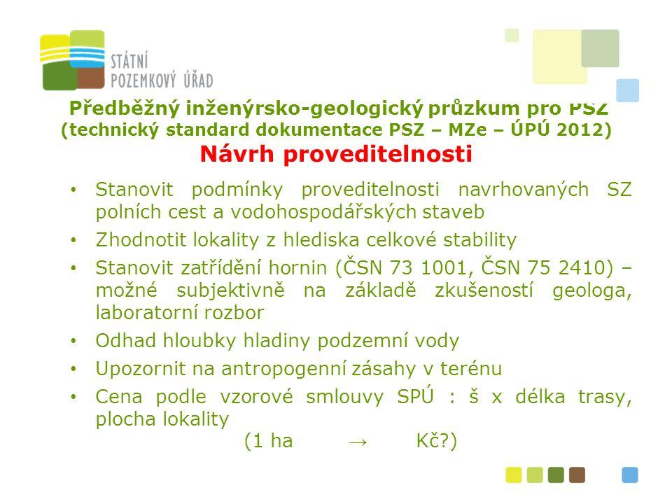 Předběžný inženýrsko-geologický průzkum pro PSZ (technický standard dokumentace PSZ – MZe – ÚPÚ 2012) Návrh proveditelnosti Stanovit podmínky provedit