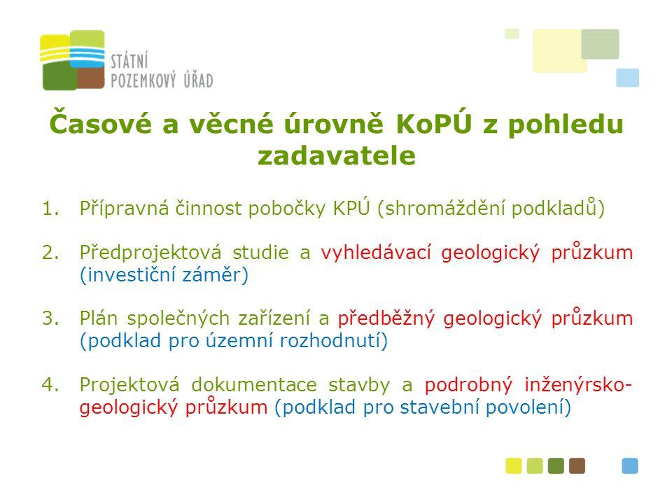 3 Časové a věcné úrovně KoPÚ z pohledu zadavatele 1.Přípravná činnost pobočky KPÚ (shromáždění podkladů) 2.Předprojektová studie a vyhledávací geologi