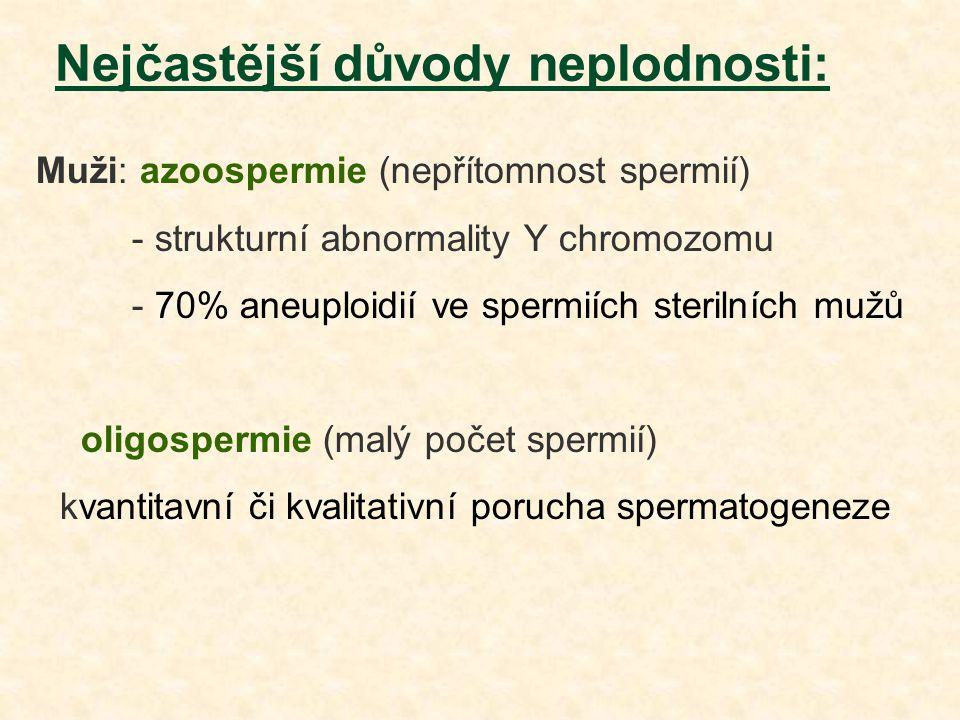 Nejčastější důvody neplodnosti: Muži: azoospermie (nepřítomnost spermií) - strukturní abnormality Y chromozomu - 70% aneuploidií ve spermiích sterilní