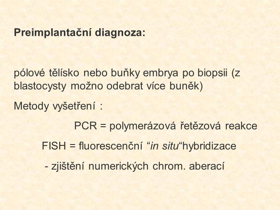 Preimplantační diagnoza: pólové tělísko nebo buňky embrya po biopsii (z blastocysty možno odebrat více buněk) Metody vyšetření : PCR = polymerázová ře