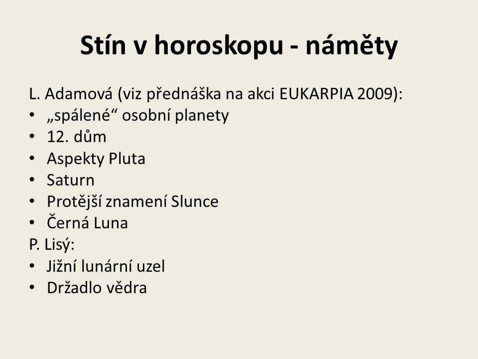 """Stín v horoskopu - náměty L. Adamová (viz přednáška na akci EUKARPIA 2009): """"spálené"""" osobní planety 12. dům Aspekty Pluta Saturn Protější znamení Slu"""