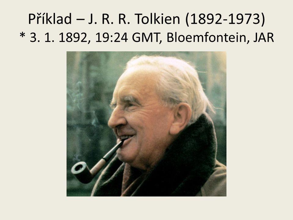 Příklad – J. R. R. Tolkien (1892-1973) * 3. 1. 1892, 19:24 GMT, Bloemfontein, JAR