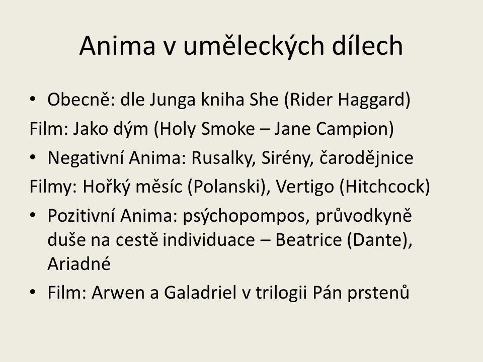 Anima v uměleckých dílech Obecně: dle Junga kniha She (Rider Haggard) Film: Jako dým (Holy Smoke – Jane Campion) Negativní Anima: Rusalky, Sirény, čar