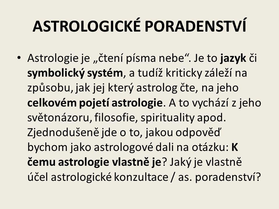 """ASTROLOGICKÉ PORADENSTVÍ Astrologie je """"čtení písma nebe"""". Je to jazyk či symbolický systém, a tudíž kriticky záleží na způsobu, jak jej který astrolo"""