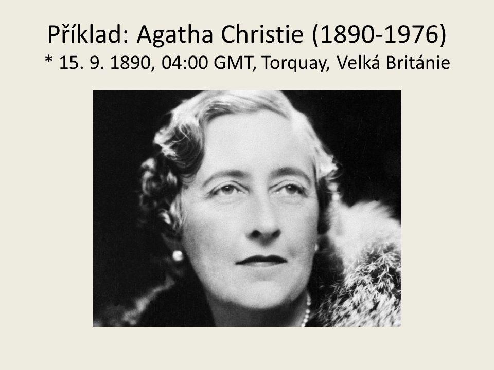 Příklad: Agatha Christie (1890-1976) * 15. 9. 1890, 04:00 GMT, Torquay, Velká Británie