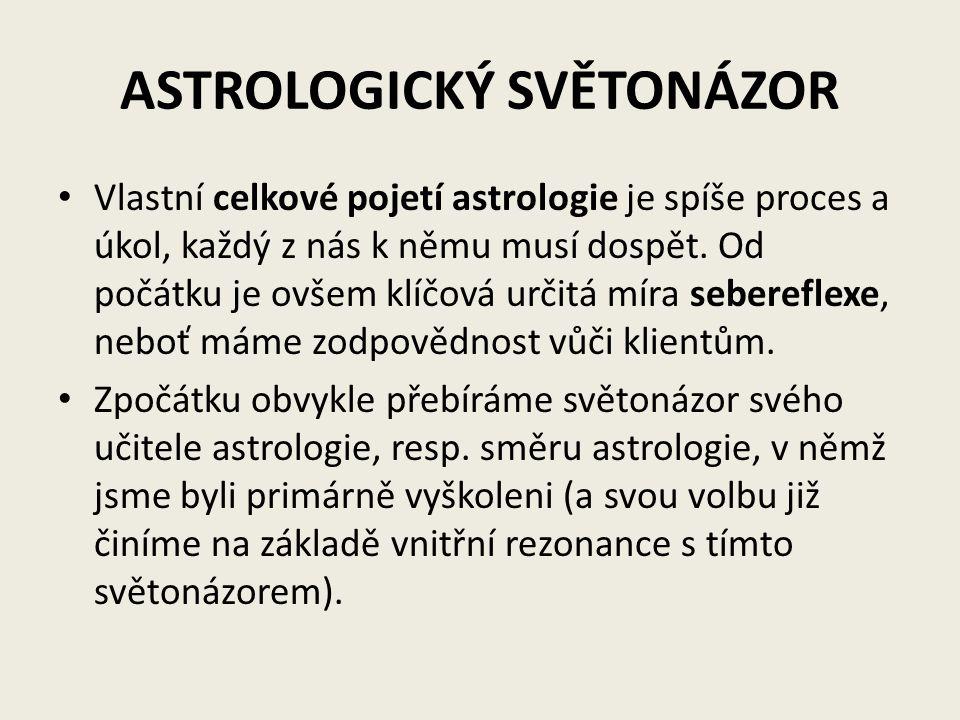 ASTROLOGICKÝ SVĚTONÁZOR Vlastní celkové pojetí astrologie je spíše proces a úkol, každý z nás k němu musí dospět. Od počátku je ovšem klíčová určitá m