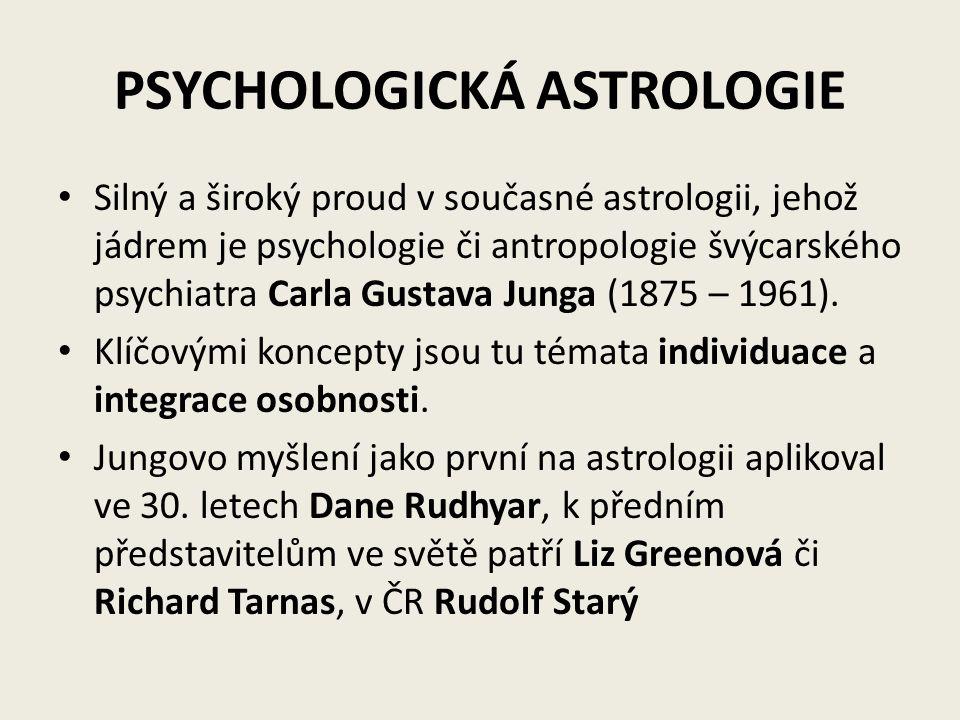 PSYCHOLOGICKÁ ASTROLOGIE Silný a široký proud v současné astrologii, jehož jádrem je psychologie či antropologie švýcarského psychiatra Carla Gustava
