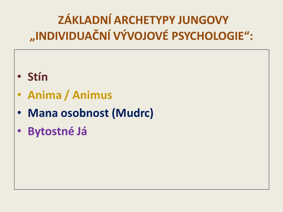 """ZÁKLADNÍ ARCHETYPY JUNGOVY """"INDIVIDUAČNÍ VÝVOJOVÉ PSYCHOLOGIE"""": Stín Anima / Animus Mana osobnost (Mudrc) Bytostné Já"""