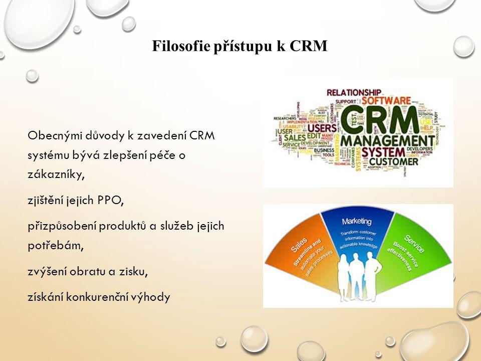 Obecnými důvody k zavedení CRM systému bývá zlepšení péče o zákazníky, zjištění jejich PPO, přizpůsobení produktů a služeb jejich potřebám, zvýšení ob