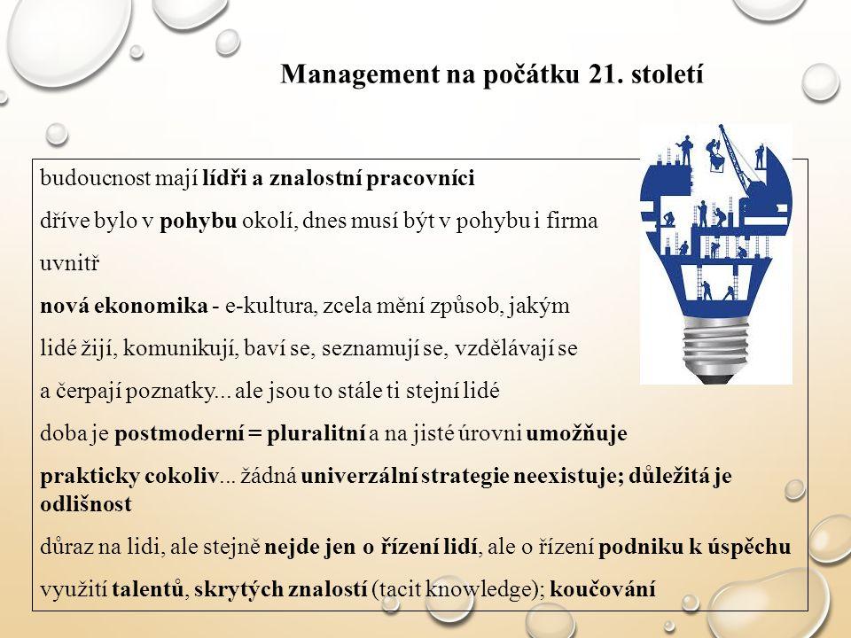 Management na počátku 21. století budoucnost mají lídři a znalostní pracovníci dříve bylo v pohybu okolí, dnes musí být v pohybu i firma uvnitř nová e