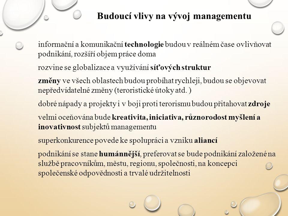 informační a komunikační technologie budou v reálném čase ovlivňovat podnikání, rozšíří objem práce doma rozvine se globalizace a využívání síťových s