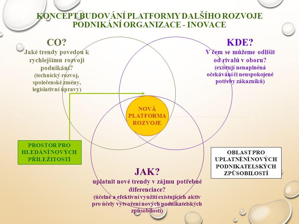 PŘECHOD SUBJEKTU DO DYNAMICKY PROMĚNNÉHO PROSTŘEDÍ OVLIVŇUJE KONCEPCI VYUŽITÍ PROSTORU PRO ROZVOJ JEHO PODNIKÁNÍ - PRO INOVACE Komu?: Distribuční cesty Komoditní produkty & služby Zboží & služby, založené na využívání znalostí Inovace modelu podnikání Automatizace Co?: koncepce produktu Jak?: Koncepce podnikatelských procesů Klasické Elektronické Od jasně vymezené architektury k volné modulární sestavě Od standardizovaných postupů k pružným reakcím Od masového prodeje k individuálním zákaznickým řešením VÝCHOZÍ ZÁKLADNA