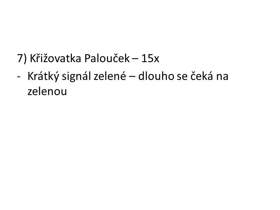 7) Křižovatka Palouček – 15x -Krátký signál zelené – dlouho se čeká na zelenou