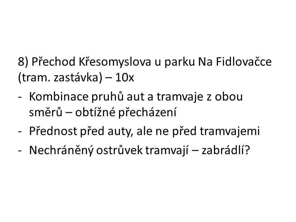 8) Přechod Křesomyslova u parku Na Fidlovačce (tram.