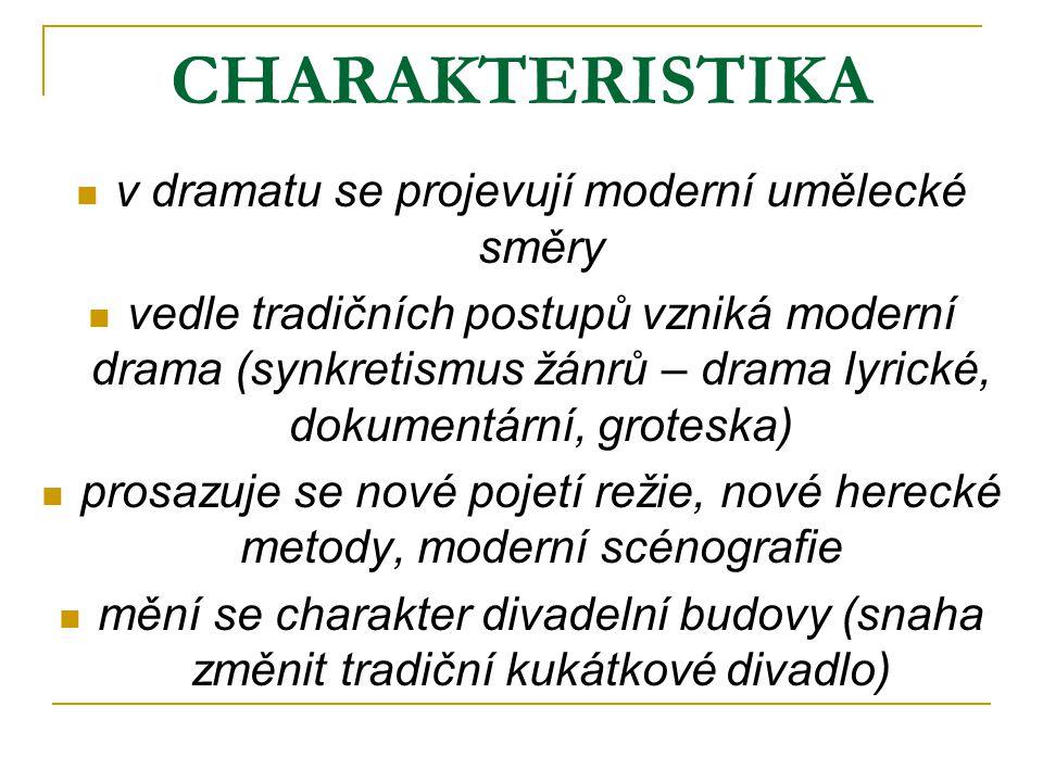 CHARAKTERISTIKA v dramatu se projevují moderní umělecké směry vedle tradičních postupů vzniká moderní drama (synkretismus žánrů – drama lyrické, dokum