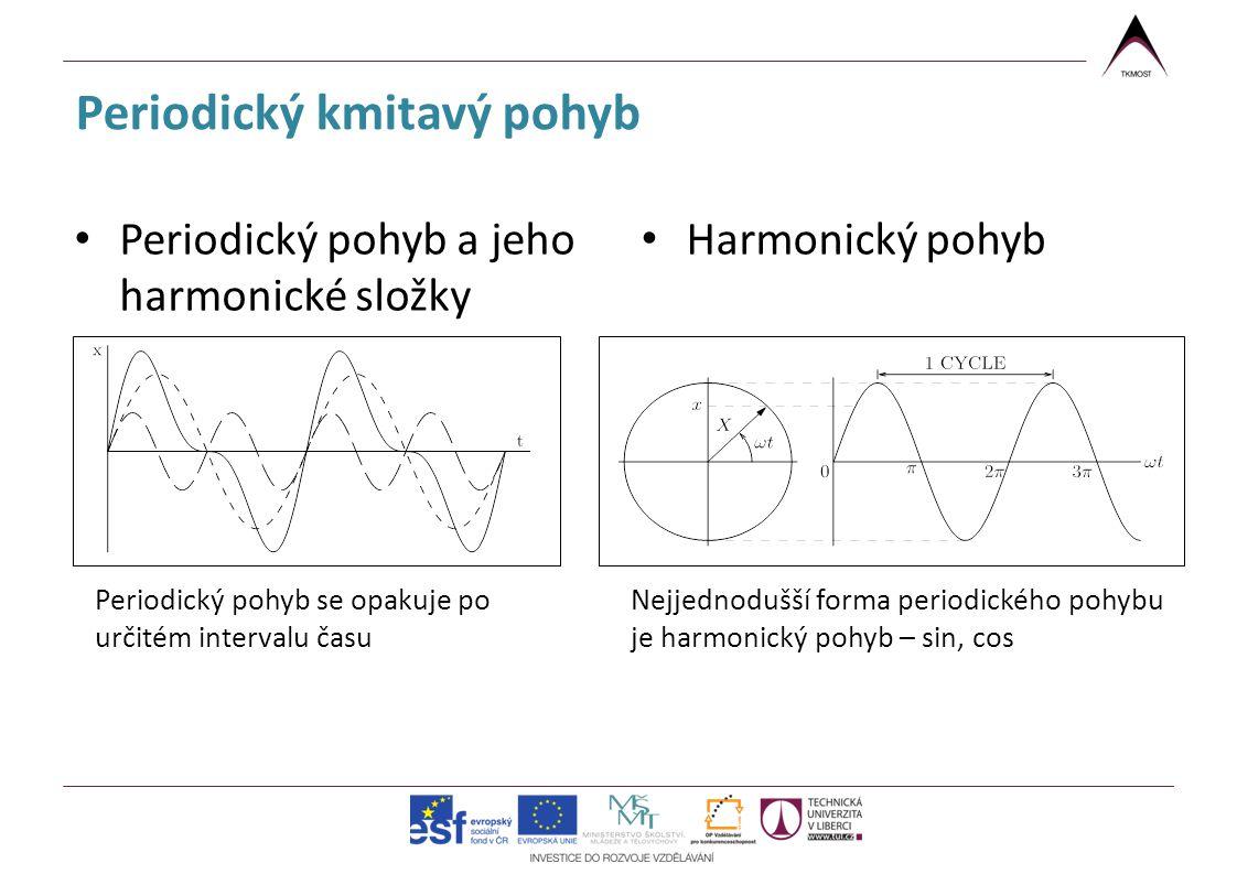 Periodický kmitavý pohyb Periodický pohyb a jeho harmonické složky Harmonický pohyb Periodický pohyb se opakuje po určitém intervalu času Nejjednodušš