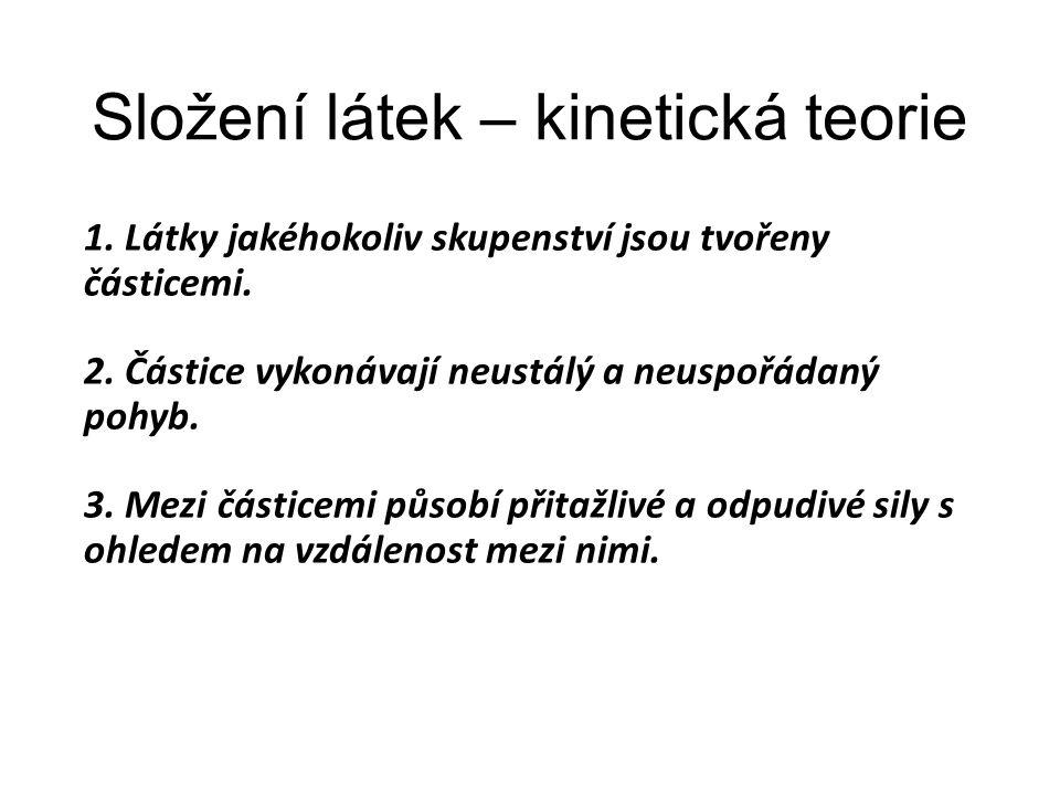Složení látek – kinetická teorie 1. Látky jakéhokoliv skupenství jsou tvořeny částicemi. 2. Částice vykonávají neustálý a neuspořádaný pohyb. 3. Mezi