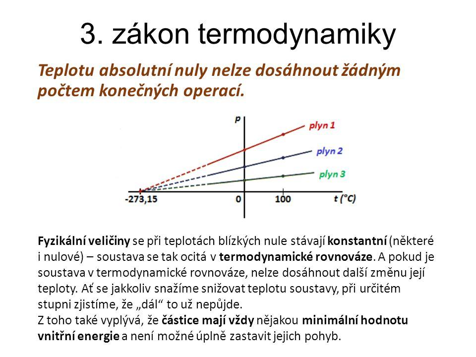 3. zákon termodynamiky Teplotu absolutní nuly nelze dosáhnout žádným počtem konečných operací. Fyzikální veličiny se při teplotách blízkých nule stáva