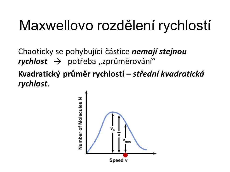 """Maxwellovo rozdělení rychlostí Chaoticky se pohybující částice nemají stejnou rychlost → potřeba """"zprůměrování"""" Kvadratický průměr rychlostí – střední"""