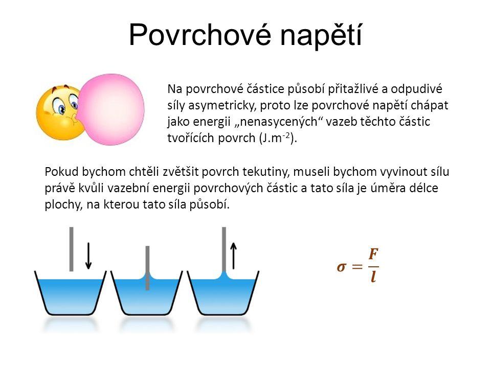 """Povrchové napětí Na povrchové částice působí přitažlivé a odpudivé síly asymetricky, proto lze povrchové napětí chápat jako energii """"nenasycených"""" vaz"""